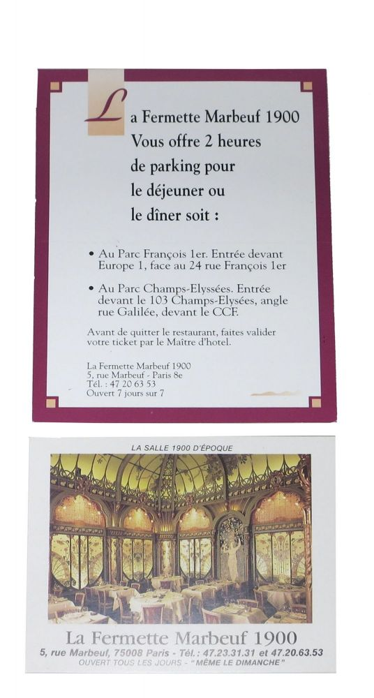 ADVERTISING CARDS For LA FERMETTE MARBEUF. French Advertising Cards.