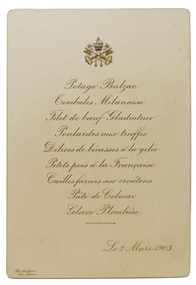 Le 2 MARS 1903. French Menu.