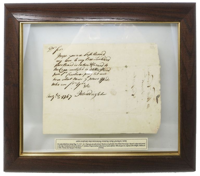 AUTOGRAPH NOTE, SIGNED [ANs]. Addressed to Wm. Vernon, the Newport Merchant. John. Vernon Wright, William - Recipeint, 1719 - 1806.