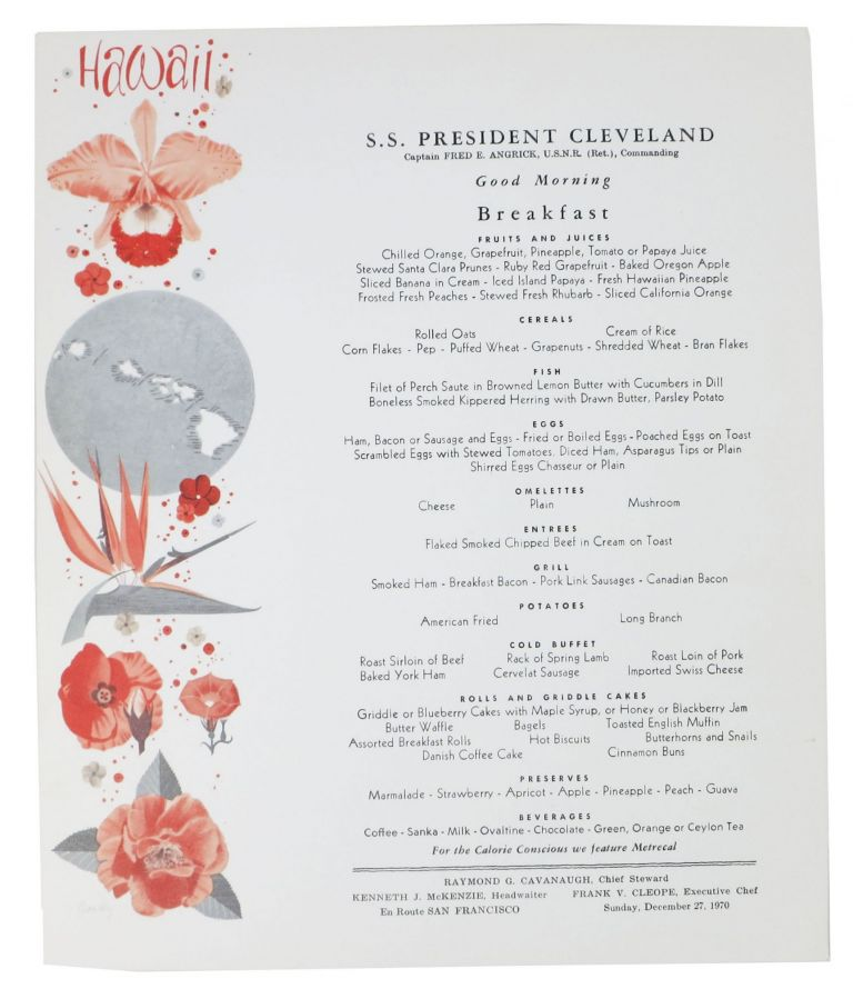 S. S. PRESIDENT CLEVELAND.; Good Morning - Breakfast. Passenger Ship Menu.