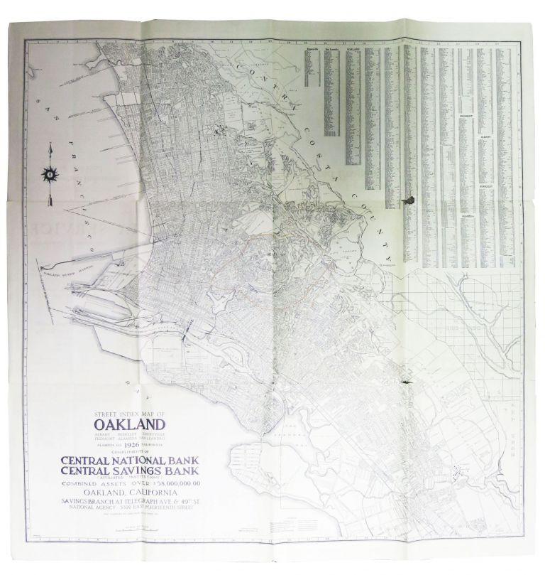 A NEW MAP Of OAKLAND Alameda & Berkeley.; Compliments of Central National Bank - Central Savings Bank. Californiana.