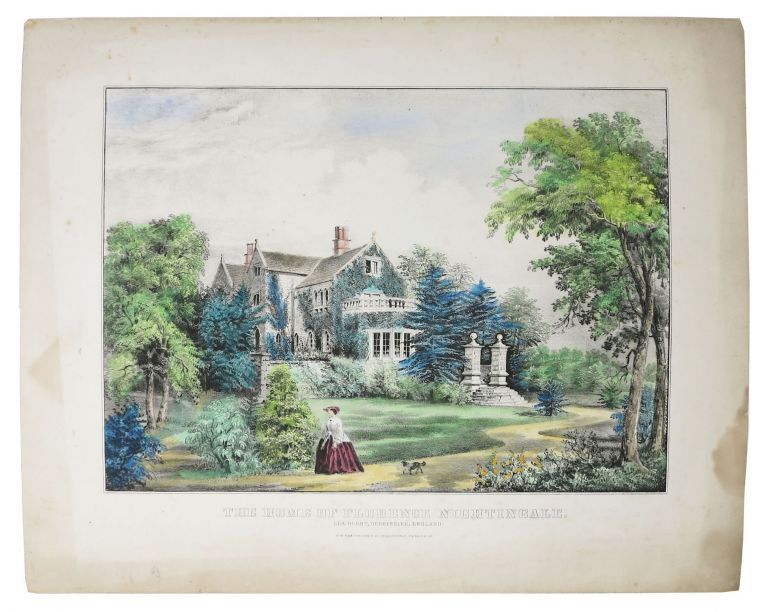 The HOME Of FLORENCE NIGHTINGALE. Lea Hurst, Derbyshire, England. Lithograph, Florence Nightingale, 1820 - 1910.
