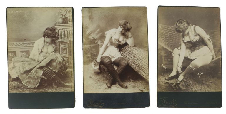 RISQUE CABINET CARDS Of RUBENESQUE WOMEN In LINGERIE. Set of 3. Erotica.
