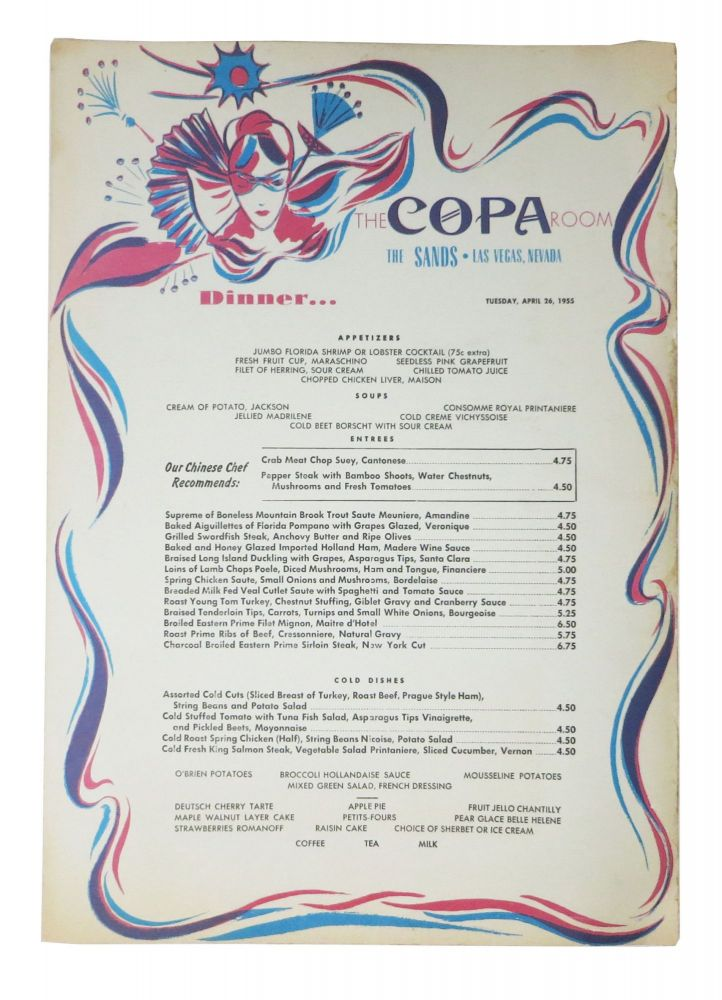 The COPA ROOM. Dinner.; The Sands - Las Vegas, Nevada. Restaurant Menu - Las Vegas.