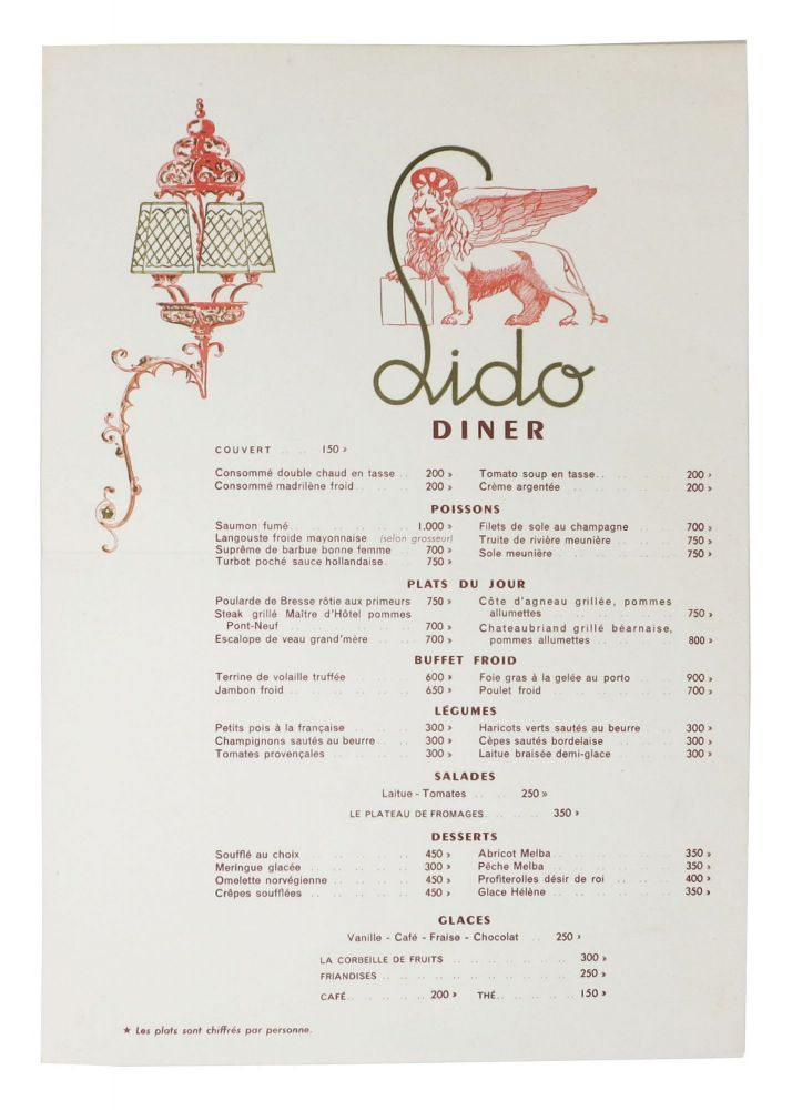 LIDO - DINER. French Restaurant Menu.