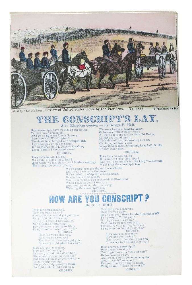 The CONSCRIPT'S LAY. Air: Kingdcom Coming. [published with] HOW ARE YOU CONSCRIPT? Civil War Song Sheet, George P. Work Holt, Henry Clay, 1832 - 1884.