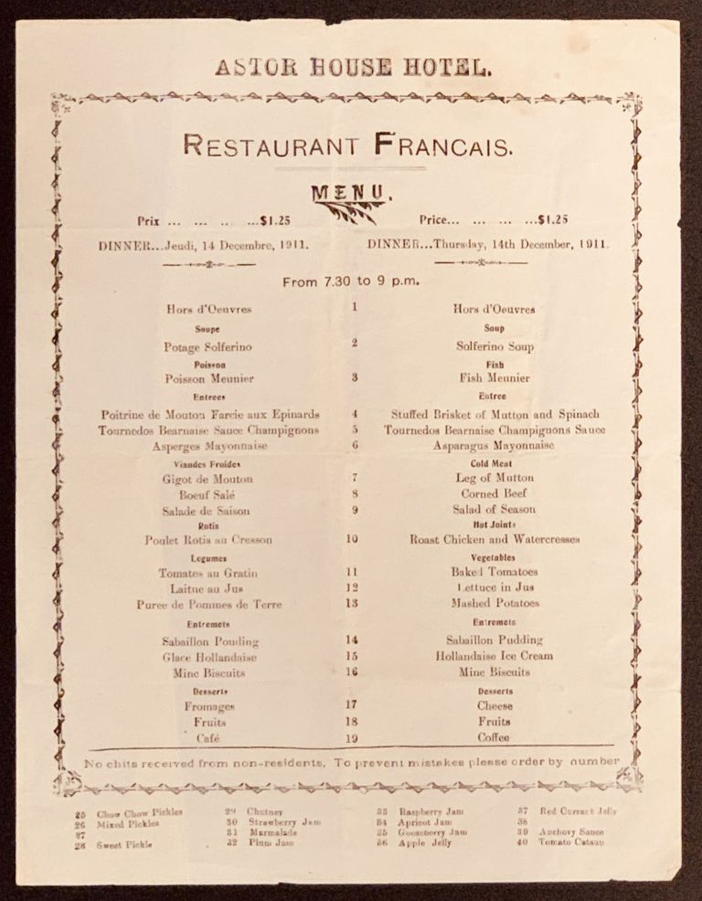 ASTOR HOUSE HOTEL. Restaurant Francais.; Dinner ... Thursday, 14th December, 1911. Restaurant Menu.