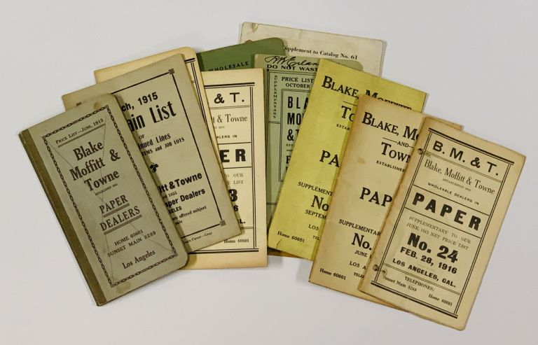 BLAKE MOFFITT & TOWNE. Paper Dealers. Lot of 11 Price Lists, 1913 - 1931 [9 pre-1919]. Trade Catalogue Price Lists.