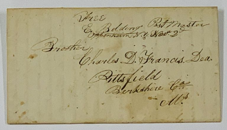ALs [Autographed Letter Signed]. To Deacon Charles D. Francis in Pittsfield. October 30, 1833. Millerite History, Ezekiel Belding, 1775 - 1852.
