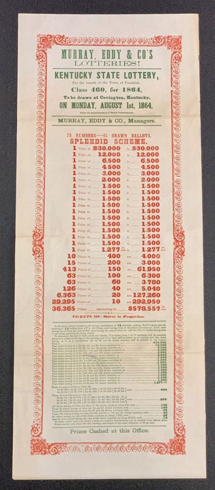 KENTUCKY STATE LOTTERY. For the benefit of the Town of Frankfort, Class 460, for 1864,; To be drawn at Covington, Kentucky, on Monday, August 1st, 1864. Tickets $10 -- Shares in Proportion. Ephemera / Broadside.