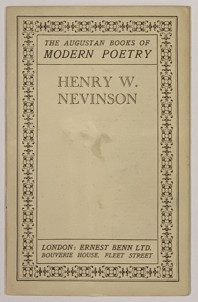 HENRY W. NEVINSON. The Augustan Books of Poetry. C. M. - Grieve, MacDiarmid, Edwin Muir, Lewis - Contributors Spence.