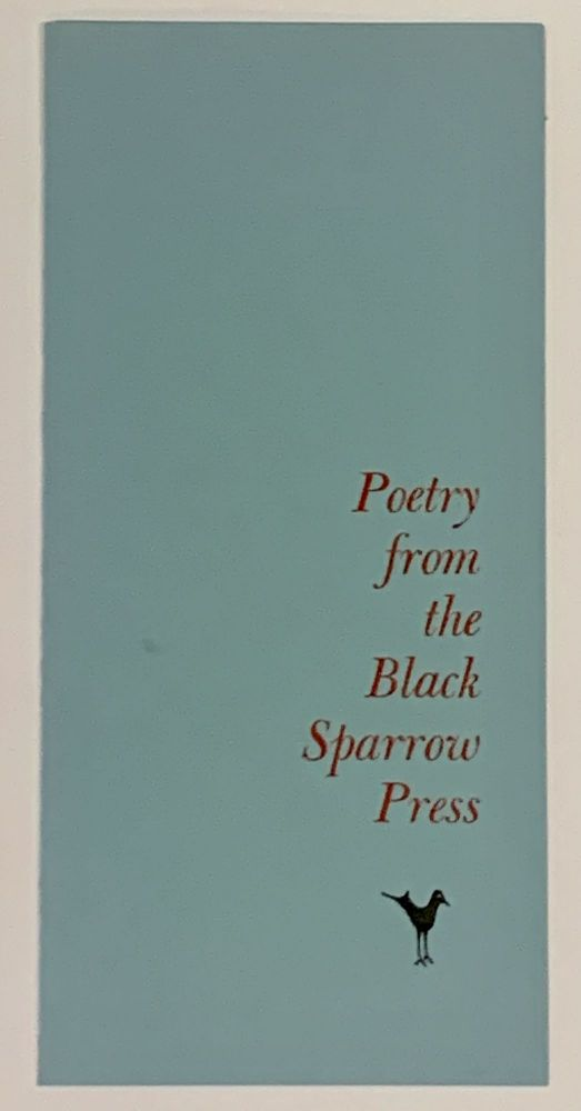 POETRY From The BLACK SPARROW PRESS. Publisher Price List / Order Blank.