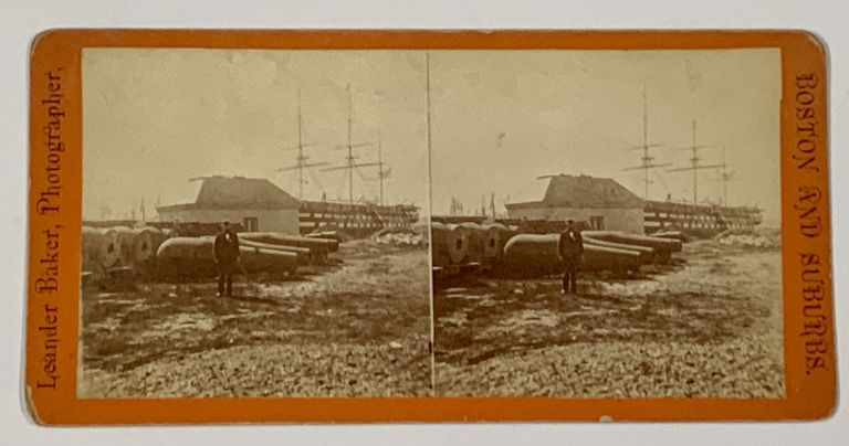 NAVY YARD [Mss title from verso].; Boston & Suburbs. Stereoview Photograph, Leander - Photographer Baker, ca 1842 - 1925.