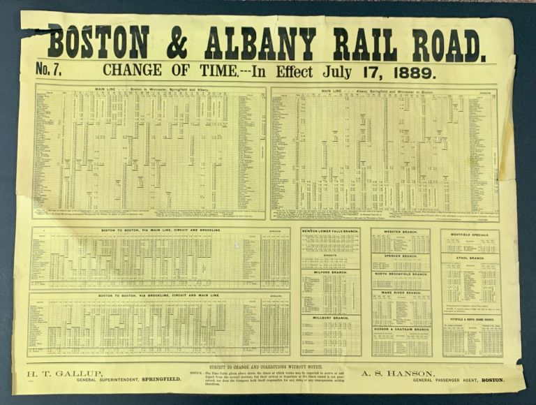"""LOT Of 10 BOSTON & ALBANY RAILROAD """"NOTICE To PASSENGERS"""" BROADSIDES / POSTERS, 1889 - 1890. A. S. - General Passenger Agent Hanson."""