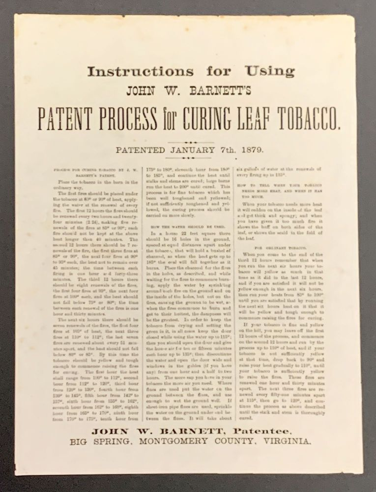 INSTRUCTIONS For USING JOHN W. BARNETT'S PATENT PROCESS For CURING LEAF TOBACCO. Patented January 7th, 1879. John W. - Patentee Barnett.