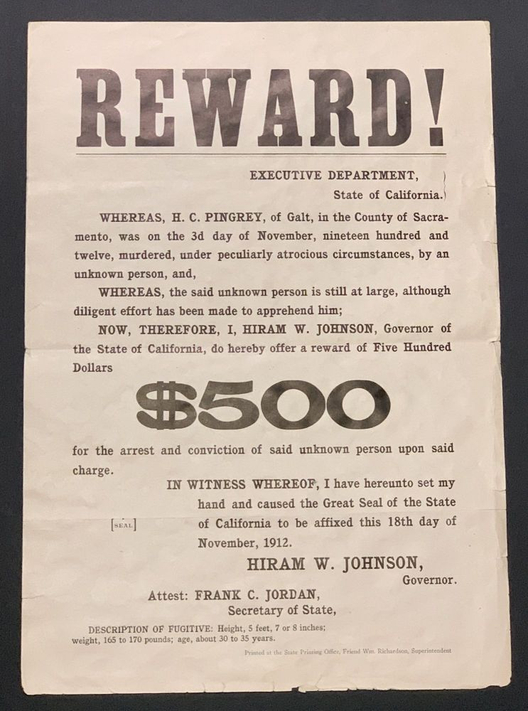 """REWARD! ... $500 for the Arrest and Conviction of Said Unknown Person Upon Said Charge. True Crime, Hiram W. - Issuer. Pingrey Johnson, Harrington """"Harry"""" Chase - Murder Victim, 1866 - 1945, 1872 - 1912."""