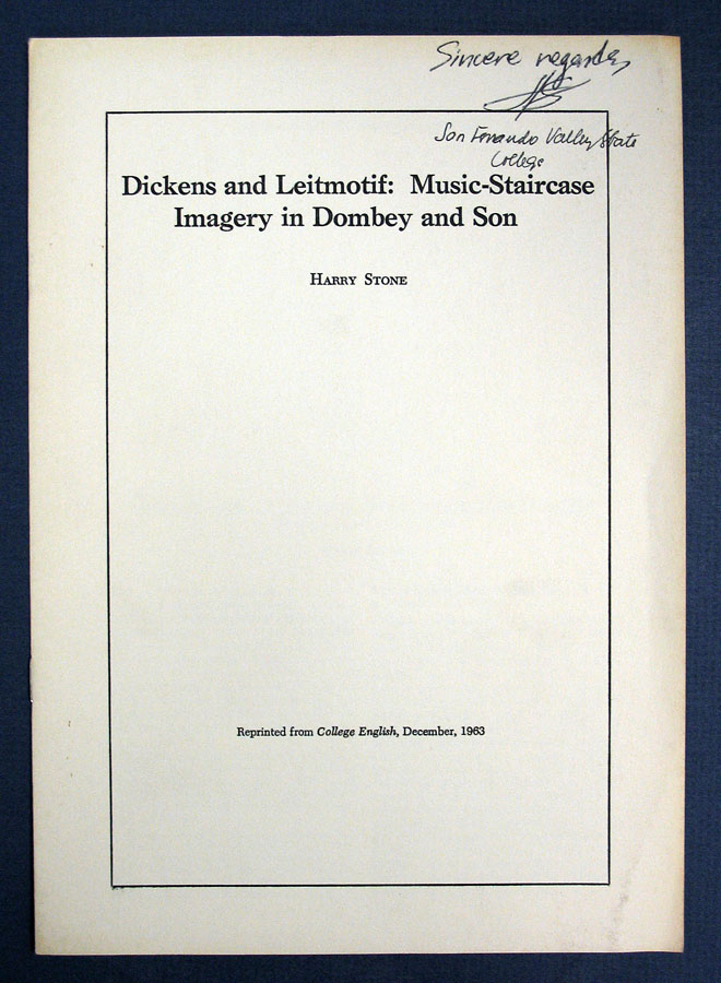 DICKENS And LEITMOTIF: Music-Staircase Imagery in Dombey and Son. Harry Stone.