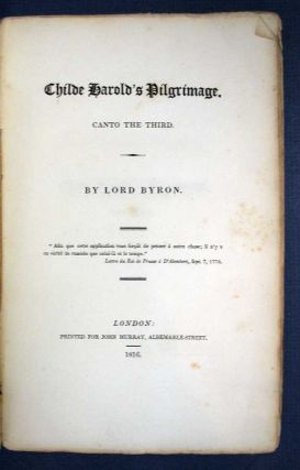 CHILDE HAROLD's PILGRIMAGE: Canto the Third. Lord Byron