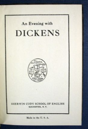 An EVENING With DICKENS. Charles. 1812 - 1870 Dickens, Sherwin - Cody
