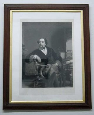 ENGRAVING Of CHARLES DICKENS. Charles. 1812 - 1870 Dickens, William Powell . Barlow Frith, T. Oldham - Engraver, 1819 - 1909, 1824 - 1889.