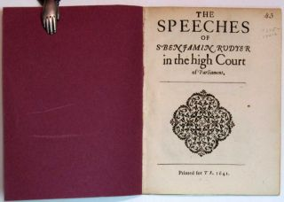 The SPEECHES Of Sr. BENJAMIN RUDYER [sic] In The HIGH COURT Of PARLIAMENT.