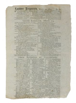 "BILL Of ENTRY BROADSIDE. ""LONDON IMPORTED, March 22 - 26, 1802. No. 60. - No. 63"""