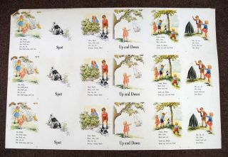 PUFF And DICK. SPOT. UP And DOWN. Uncut Printed Sheet. Children's Reader