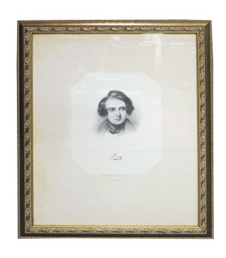 """BOZ"". Lithographed Portrait of Charles Dickens. D. Lawrence, Delt. E. Brown, Jr. Lith...."