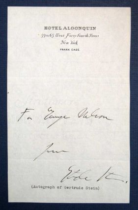 AUTOGRAPH NOTED SIGNED [ANs, on Frank Case Hotel Algonquin letterhead].
