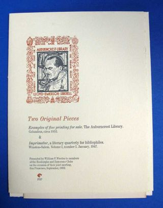 TWO ORIGINAL PIECES. Examples of Fine Printing for Sale. The Auburncrest Library. Columbus [ca...