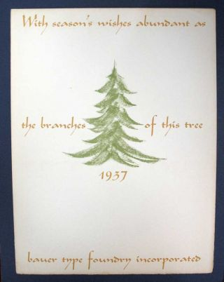 WITH SEASON'S WISHES ABUNDANT As The BRANCHES Of This TREE. 1937. Bauer's Family Tree of...