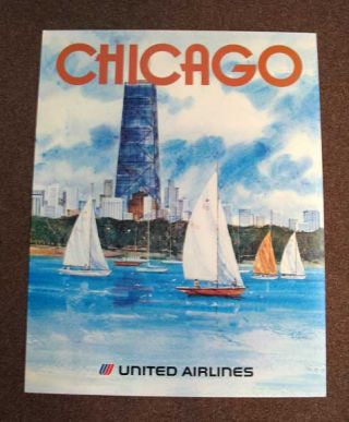 CHICAGO. United Airlines. Printed Posterboard. Airlines Travel Poster, Stan - Dudeck