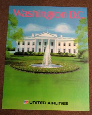 WASHINGTON D. C. United Airlines. Printed Posterboard. Airlines Travel Poster