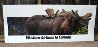 WESTERN AIRLINES To CANADA. Airlines Travel Poster