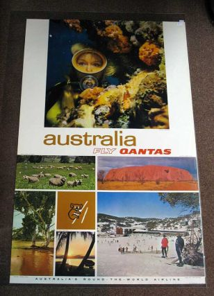 AUSTRALIA. Fly Qantas. Australia's Round-the-World Airline. P16- 39. Airlines Travel Poster.