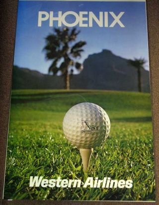 PHOENIX. Western Airlines. Airlines Travel Poster / Golf.