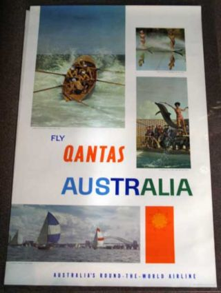 FLY QANTAS AUSTRALIA. Australia's Round-the-World Airline. P117. Airlines Travel Poster.