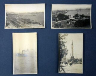 "SET Of EARLY 20th CENTURY SILVER-GELATIN PRINTS Of SHANGHAI. Divers Images featuring Shanghai Harbor, the Wangpoo River, Bund Street, Natives on a Busy Street, a Pilot Boat on the Wangpoo River, the ""Time Ball Station"" & Other Prominent Buildings and Landmarks Throughout Shanghai."