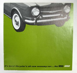 It's here! Chrysler's all-new economy car ... the SIMCA 1000. Advertising / Sales Brochure