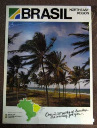 BRASIL - Northeast Region. Over 2,000 Miles of Beaches are Waiting for You. Airlines Travel Poster.