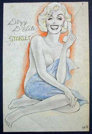 "ARCHIVE Of 30 RISQUE PENCIL SKETCHES Of ""DITZY D'ELITE, STARLET"" ""Kort"" - Artist."