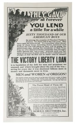 THEY GAVE THEIR ALL FOREVER - YOU LEND A LITTLE For A WHILE. The Victory Liberty Loan is in...