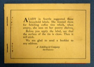 PACKET Of HOUSEHOLD LABELS. A. Schilling, Company publication