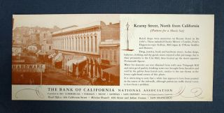 "BLOTTER / TRADE CARD. ""Kearny Street, North from California (Pattern for a Movie Set)"" Bank of..."