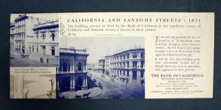 "BLOTTER / TRADE CARD. ""California and Sansome Streets - 1871"" Bank of California"