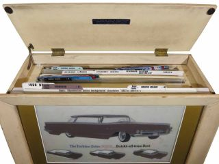 The TURBINE DRIVE BUICK... BUICK'S ALL-TIME BEST. 1960 Dealer's Backlit Showroom Display Case Complete with 33 Transparencies Displaying Interior & Exterior Design Choices and Three Upholstery Sample Catalogues.