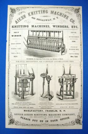 AIKEN KNITTING MACHINE CO. 429 Broadway, N. Y. Manufacturers of Knitting Machines, Winders,...