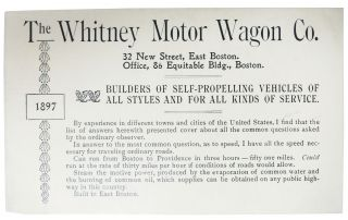 The WHITNEY MOTOR WAGON CO. Builders of Self-Propelling Vehicles of All Styles and for All Kinds...