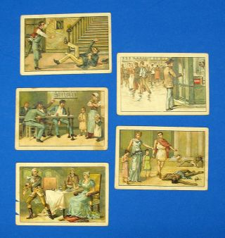 """The DANGERS Of ALCOHOL ABUSE"" [DE GEVAREN VAN HET DRANKMISBRUIK]. Collection of 12 Violent Dutch-Language Temperance Cards."
