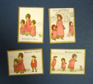 "EARLY 20th CENTURY ""REWARD Of MERIT"" CARDS. Anonymous"